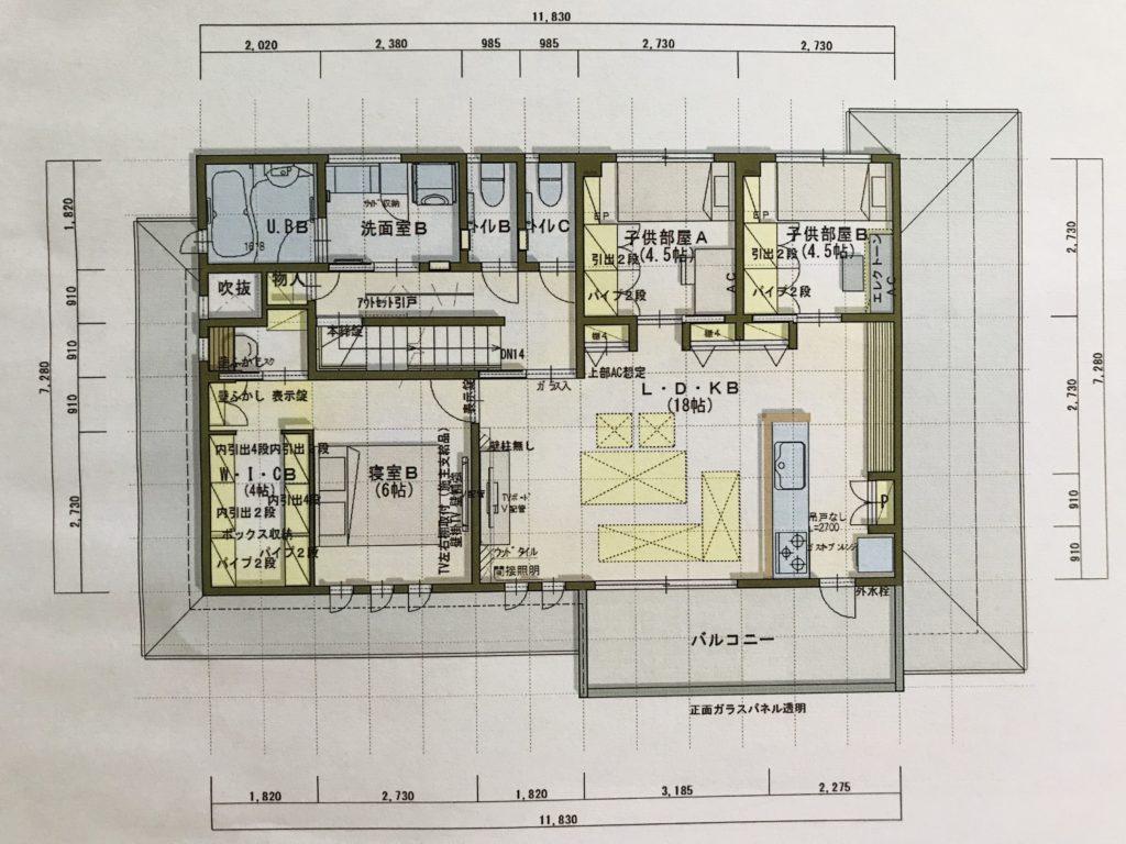 二世帯2階間取り図面
